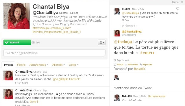 Profil twitter Chantal Biya