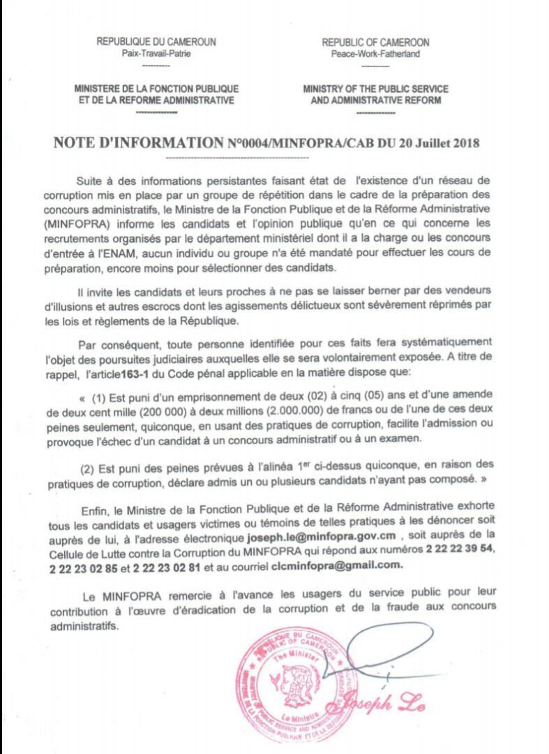 Cameroun : La typologie des 30 mails que reçoit le ministre Joseph LE tous les jours [Exclusif]