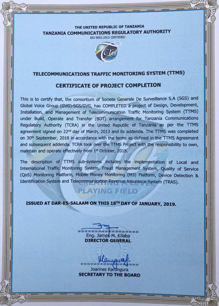 Tanzanie : l'exemple « réussi » de SGS et Global Voice Group sur contrôle du trafic international entrant